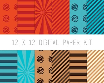 Digital Paper Kit, Digital Scrapbook, Pattern Paper, Instant Download, Scrapbooking Supply, scrapbook paper, Tribal, Moana, Tropical