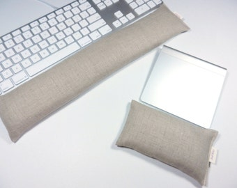 Computer Keyboard Wrist Rest in 100% Linen fabric in Natural / Tan - Mouse rest optional