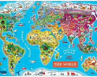 Scheme for cross stitch world map for kids card maximum embroidery size modern print pattern PDF instant download