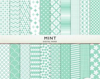 Mint Digital Paper - Scrapbooking -  Instant Download & Printable G7613