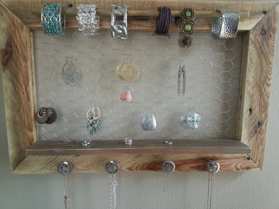 Natural pallet jewelry holder jewelry display rustic