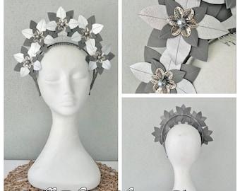 Ladies silver & grey leather halo  headband fascinator