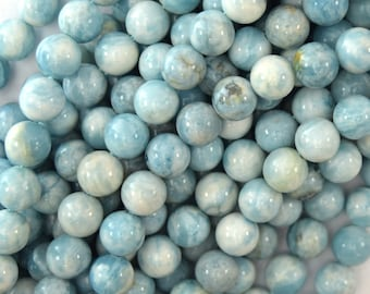 "8mm blue larimar quartz round beads 15.5"" strand 38007"