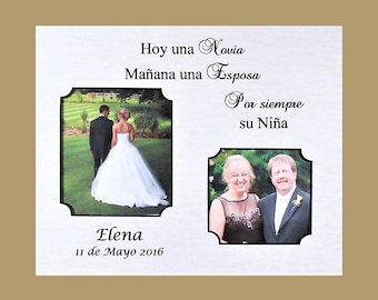 Bride Espanol Wedding Gift to Dad-Mat Parents Gift-Bride Gift to Parents- Spanish Personalized Mat-Wedding Gift 8x10 Overall Size