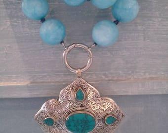 Necklace Splendid Blue Sky Agate with Vintage Turquoise Afgan Pendant