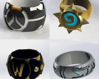 Blizzard Ring Set (Overwatch, World of Warcraft, Hearthstone, Starcraft) 3D Print