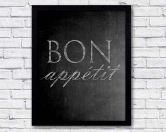Printable poster, bon appétit, kitchen wall art, kitchen poster, chalkboard poster, dining room wall art, dining room art, chalkboard print