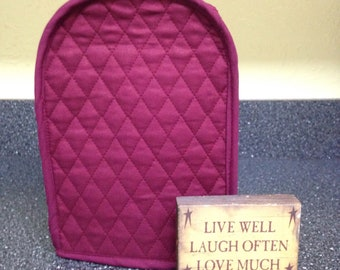 Burgundy Can Opener Cover Quilted Fabric Kitchen Small Appliance Cover Ready to Ship