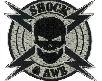 Shock & Awe Military Velcro / Iron-On Patch Militaria Milspec Swat US Army Marines Tactical Zombie Response Team Morale Badge Navy Marines