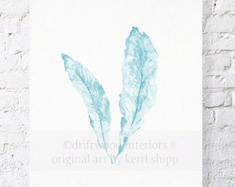 Sea Fan Art Print in French Blue 11x14 - Sea Life Art Print - Coral Art Print - Watercolor Art Print - Giclee Print