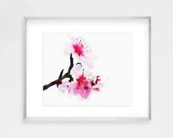 Cherry Blossom Art, Cherry Blossom Wall, Cherry Blossoms Art, Japanese Art, Asian Decor, Watercolor Print, Watercolor Painting, Pink Art