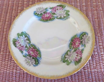 Vintage Sterling China Plate July Waterlily Flower Iridescent Rainbow Colors