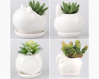 Lovely Animals Ceramic Pots / Bonsai Pot, Cat Planter, Animal Planter, Bunny Planter, Elephant Planter, Mini Planter, Cactus Planter