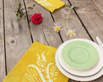 chartreuse thistles batik dinner napkins