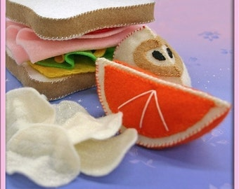 Wool Felt  - Ham and Cheese Sandwich Play Food - Waldorf Inspired Accessory for Imaginative Play