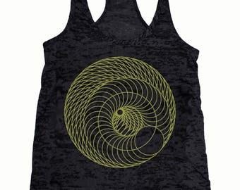 Women's Infinite Spiral Tank Top Sacred Geometry Design Torus Racerback Shirt Beyond Spacetime