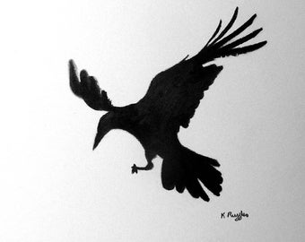 Rook original charcoal drawing, crow drawing, crow art, bird drawing, pencil drawing, wildlife art, bird art, black and white, gothic art