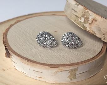 Bridal Earrings - Teardrop Silver Druzy - Wedding Jewelry
