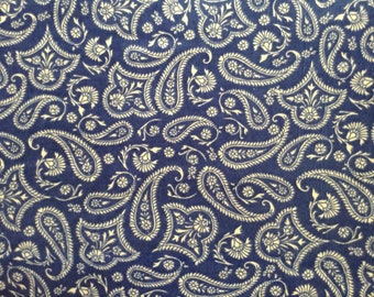 Flannel/Blue and beige paisley cotton fabric by the yard
