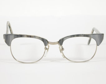 Shady Character Executive 1980s Vintage Gray & Silver Eyeglasses Frames