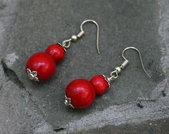 Wood bead earrings boho wood earrings folk wooden jewellery primitive earrings eco wood earrings  rustic earrings eco wood jewelry ladies