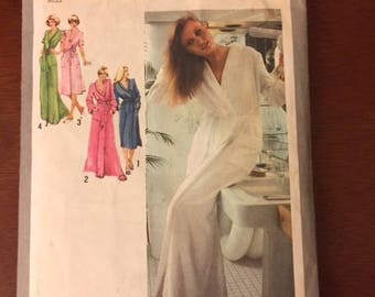 FRONT-WRAP ROBE Pattern by Simplicity from 1979 for 2 sizes, 6 & 8, and 2 robe lengths.