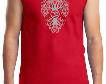 Yoga Clothing For You Mens Shirt Grey Bodhi Tree Muscle Tee T-Shirt = 2700-GBODHI