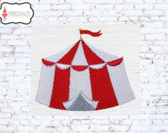 Circus tent machine embroidery design. Two sizes. Circus embroidery of a carnival tent in filled stitch. Fun big top embroidery.