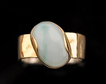 Green Ring, 9k Gold Bezel,Oval Bezel, 9k Gold square Ring Soldered Over Silver, Light Green Jade Stone, Elegant