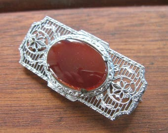 Antique Edwardian to Early Art Deco Filigree Brooch - Pin - Carnelian Color - Silver Tone
