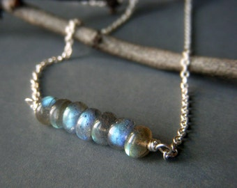 Labradorite Rondelle Necklace on Sterling Silver, Petite Stacked Wirewrapped Minimalist Gemstone Bar Necklace, Tiny Bar Necklace
