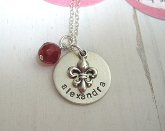 Girls Necklace Personalized Necklace, Sterling Silver Hand Stamped Girls Necklace, Children's Jewelry