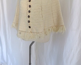 Vintage 70s womens cape poncho, button down sweater, beige knit retro hippie fringe, Mothers Day gift