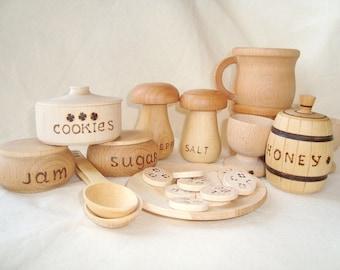 Play kitchen wood set (24pcs). Wooden toys. Wooden food play set. Wood tea set