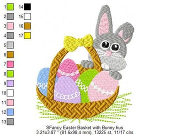 SFancy Machine Embroidery Easter Basket with Bunny 4 x 4