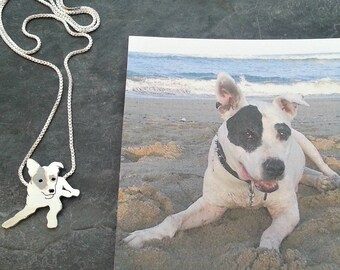 Pitbull Dog Necklace, Your Pet Pendant TaGette .. Sterling Silver silhouette Jewelry Memoralize Keepsake, Gift