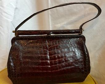 1960's Vintage Faux Alligator Leather Hand Bag