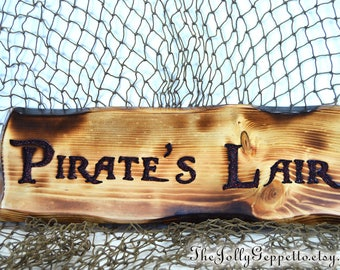 Pirate Sign, Pirates Lair Sign, Pirates of the Caribbean, Pirate Decor, Gift for Him, Man Cave, Carved Wood Sign, The Jolly Geppetto