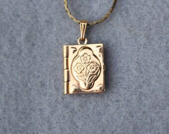 Tiny Book Locket Pendant Necklace Vintage