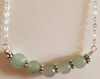 Jade Green Bead Necklace, Bead Necklace, Green Necklace, Jade Necklace, Silver Necklace, Jade Bead Necklace, Wire Wrapped