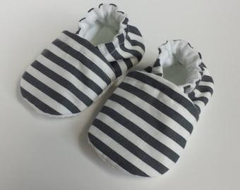 BOGO - code BOGO7 Gray Striped soft sole shoe, gray striped moccasin,  gray stripes crib shoe, gray baby shoe, baby soft sole