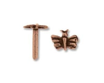 Decorative Antique Copper Rivets, Butterfly,  5 Pack, Solid Rivet, Findings, Metal Work