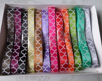 12 times 1 meter of 10 mm white diamond patterned multicolored satin ribbon