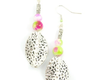 Earrings pink green white spotted glass beads and silver beads twisted silver metal.