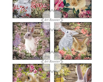 "3x3"" Shabby Easter Printable Images Digital Collage Sheet Printable Paper Digital Scrapbook Easter Bunny Greeting Cards Printable Gift Tags"