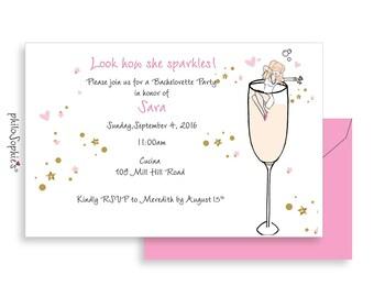 Personalized Bridal Shower Invitations, Custom Illustration Champagne Wedding Shower Invites