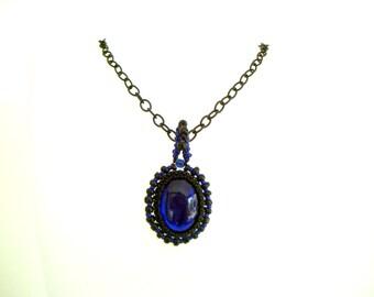 royal blue pendant necklace - black and blue cabochon pendant - black chain - deep dark cobalt blue short necklace gothic blue large pendant