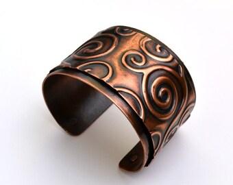 Copper Cuff Embossed Swirls Bracelet