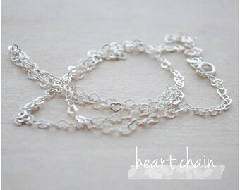 "Sterling Silver Chain - Plain Chain Necklace - 16"" or 18"" Heart Chain Necklace"