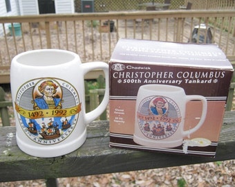 REDUCED.....Chadwick Christopher Columbus 500th Anniversary Tankard, 22 Ounce Capacity, Glazed Ceramic, Collector's Edition,